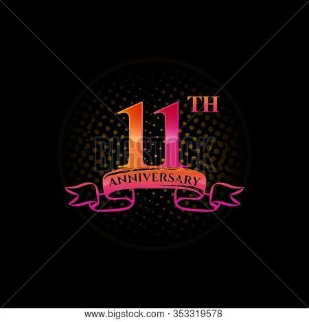 Celebrating The 11th Anniversary Logo, With Gold Rings And Gradation Ribbons Isolated On A Black Bac