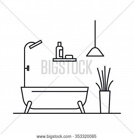 Interior With Bathtub, Shower, Pot, Plant, Lamp, Shelf. Vector Interior With Bathtub, Shower, Pot, P
