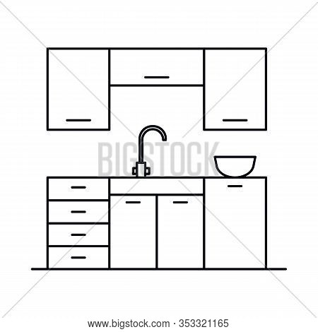Interior With Kitchen, Faucet, Wash Basin, Dishes, Cabinet, Shelves. Vector Interior With Kitchen, F