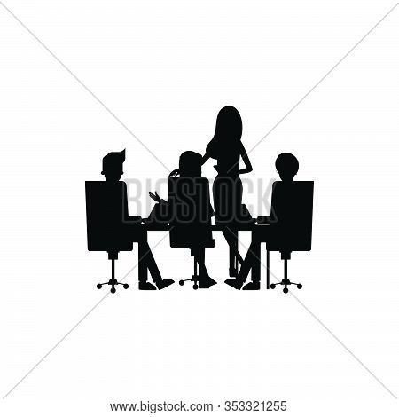 People Meeting Work Silhoutte Business Logo Design Vector Template