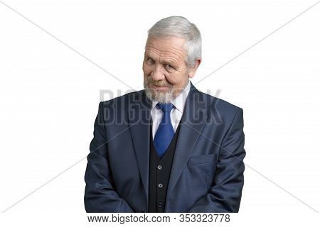 Old Businessman Gaze. Portrait Of Senior Man In Suit Intently Looking At The Camera. White Isolated