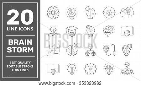 Brainstorming Line Icons Set. Set Of Brainstorm Icons Such As Artificial Light, Brain, Lightbulb, Cr