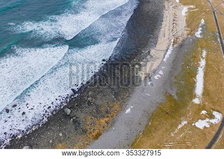 Aerial View Of Seascape At Skagsanden Beach In Lofoten Islands, Nordland County, Norway, Europe. Nat