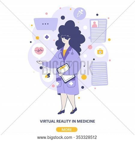 Virtual Reality Medical Services Vector Landing Page Template