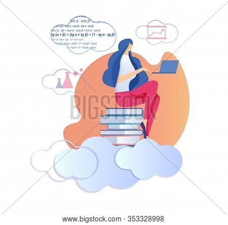 Young Woman Sitting On Big Pile Of Textbooks Working On Laptop Studying Mathematics, Geometry Formul
