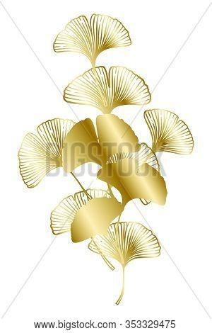 Ginkgo Or Gingko Biloba Golden Branch With Leaves. Nature Botanical Gold Vector Illustration, Decora