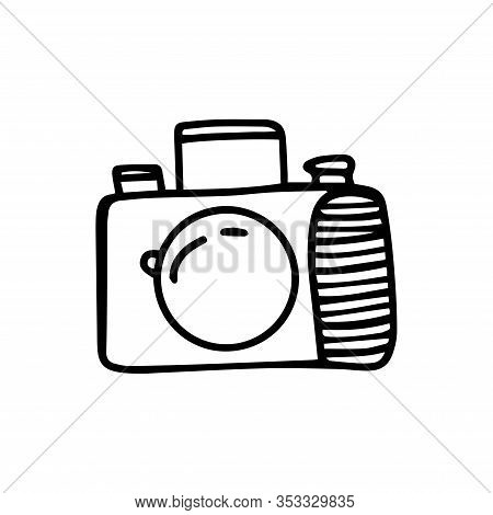Reflex Camera In Doodle Style Isolated On White Background. Sign Icon. Vector Outline Illustration
