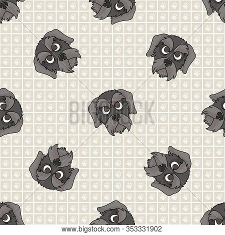 Hand Drawn Cute Schnauzer Puppy Face Breed Dog Seamless Vector Pattern. Purebred Pedigree Puppy Dome