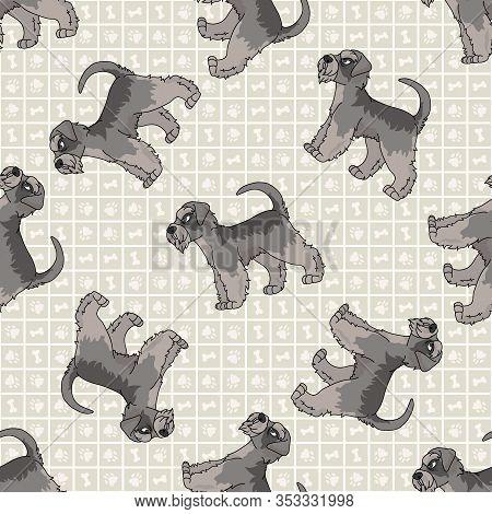 Hand Drawn Cute Schnauzer Breed Dog Seamless Vector Pattern. Purebred Pedigree Puppy Domestic Dog On