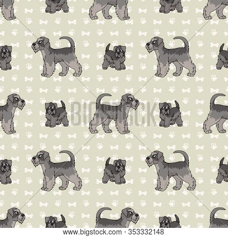 Hand Drawn Cute Schnauzer Breed Dog And Puppy Seamless Vector Pattern. Purebred Pedigree Puppy Domes