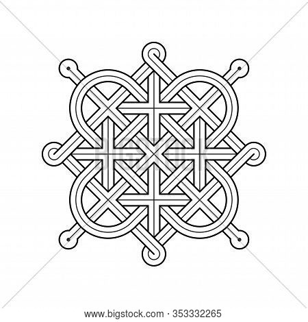 Vector Illustration Of A Celtic Knot - Mystic, Decorative Symbol With Intertwined Gold Engraved Line