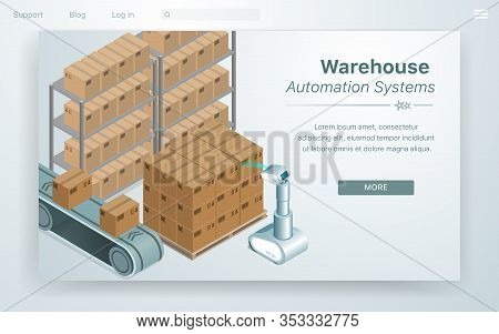 Vector Illustration Warehouse Automation System. Robot With Scanner Machine Panel Shield Bar Code Fr