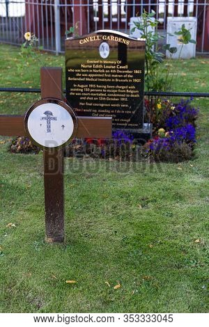 Scotland  - September 07 2019: Cavell Gardens Memorial In Inverness, In Honor Of Nurse Edith Louise