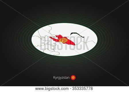 Kyrgyzstan Map In Dark Color, Oval Map With Neighboring Countries. Vector Map And Flag Of Kyrgyzstan