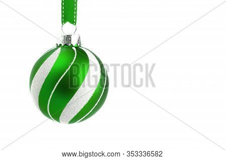 Delicate Glittery Christmas Ornament Hanging On A Ribbon