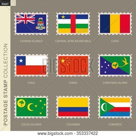 Postage Stamp With Flag, Collection Of 9 Flag: Cayman Islands, Central African Republic, Chad, Chile