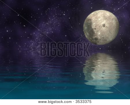 Moon In Universe And Reflection Moon And Universe On Ripply Water - Plane