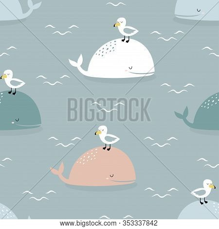 Seamless Pattern Of Cartoon Whale, Seagull And Lettering Do Not Worry, Be Happy On Blue Background,