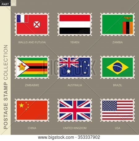 Postage Stamp With Flag, Collection Of 9 Flag: Australia, Brazil, China, Uk, Usa, Wallis And Futuna,