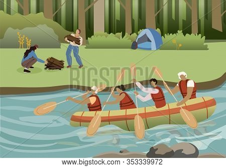 Summer Active Tourism Flat Vector Illustration. Cartoon Rowers Team Paddling Together In Inflatable