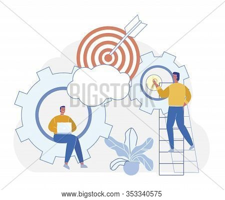 Cartoon Vector Purposeful Effort To Achieve Goal. An Attractive Startup Investment. Men Work With Ge