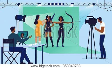 Film Studio Shooting Set Flat Vector Illustration. Director, Cameraman, Visagiste And Actresses Cart
