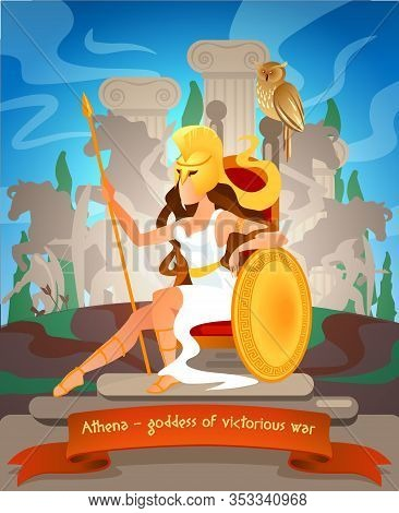 Illustration Athena Goddess Of Victorious War. Vector Flat Cartoon Against Backdrop Monuments Greek