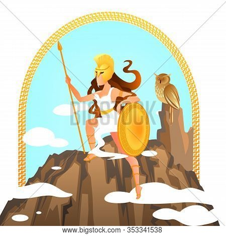 Athena Olympian Greek Goddess Holding Spear And Shield Stand On Top Of Olympus With Owl, Ancient Gre