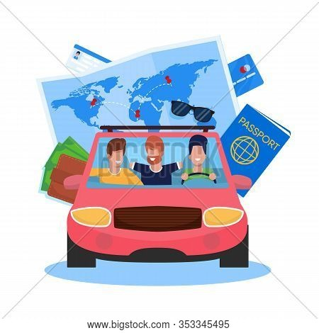 Vector Illustration Car Trip With Friends Cartoon. In Foreground, Men Drive Cars And Enjoy Life. Tra