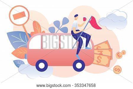 Cartoon Man With Coffee Mug Finish Flag Sitting On Bus Vector Illustration. Prohibition Road Sign Mo