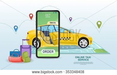 Online App For Ordering A Taxi Cab With A Mobile Phone Superimposed Over A Yellow Cab With Luggage I