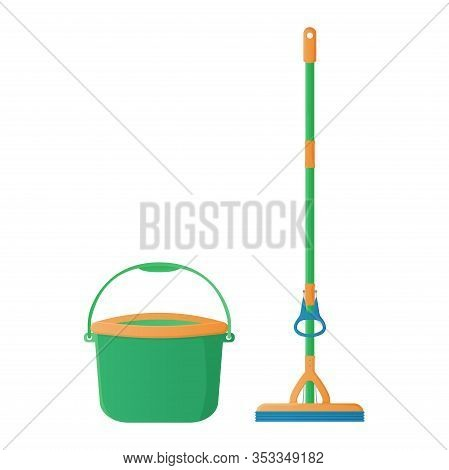 Cartoon Sponge Mop With Hand Rubber Squeezer With Bucket Stock Vector Illustration. Cleaning Service