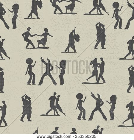 Seamless Vector Pattern With Black Silhouette Of People Dancing On Grunge Background. Funky Man Woma