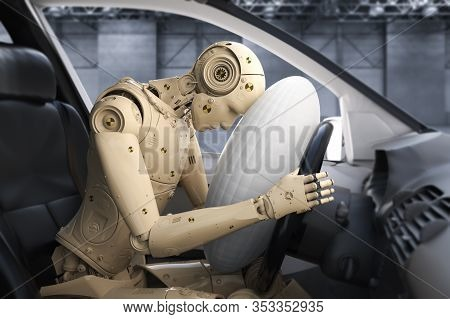 Crash Test With 3d Rendering X-ray Dummy In Car