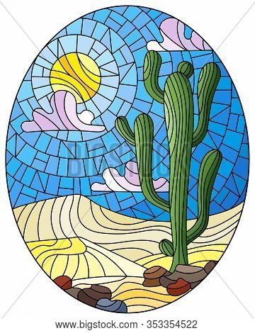 The Illustration In Stained Glass Style Painting With Desert Landscape, Cactus In A Lbackground Of D