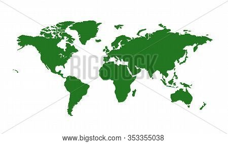 Vector Map Of The World, Isolated On A White Background. Flat Earth, Green Map Template For Website