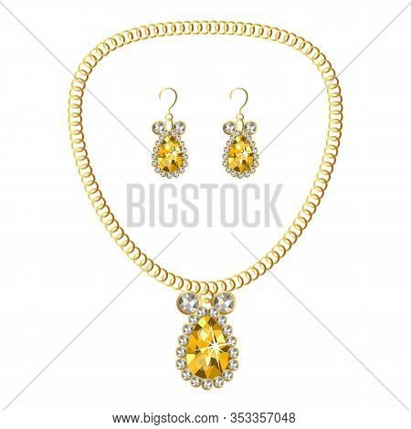 Gold Luxury Jewellery Icon. Cartoon Of Gold Luxury Jewellery Vector Icon For Web Design Isolated On