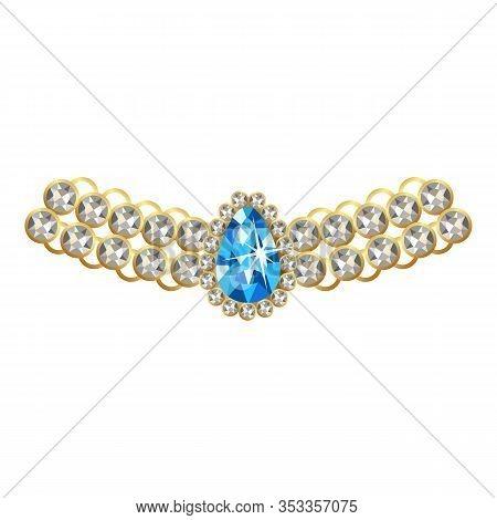 Silver Diamond Necklace Icon. Cartoon Of Silver Diamond Necklace Vector Icon For Web Design Isolated