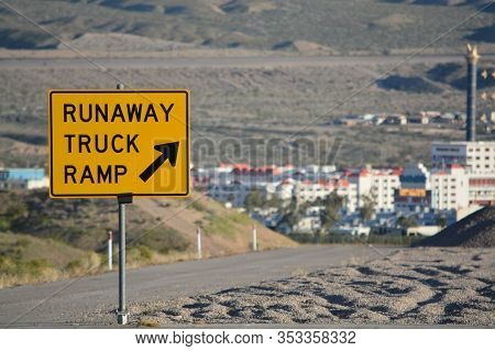 Runaway Truck Ramp Sign A Emergency Escape Ramp In Laughlin, Clark County Nevada Usa