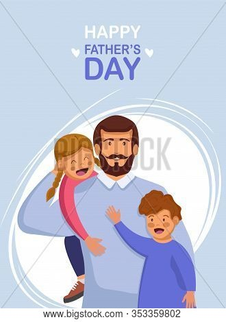 Greeting card Happy Fathers Day. Vector illustration of a flat design - stock vector. Happy International Father's Day. Dad. Father's Day. Father's Day background. Fathers Day poster. Fathers Day illustration. Fathers Day banners. Fathers day Vectors. Fat