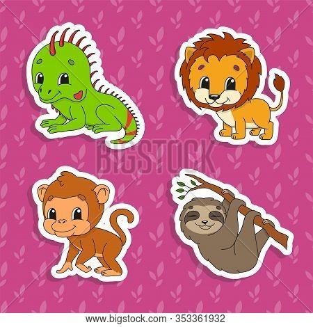 Set Of Bright Color Stickers. Orange Lion. Brown Monkey. Green Iguana. Brown Sloth. Cute Cartoon Cha