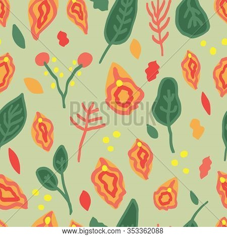 Seamless Pattern With Vulva And Floral Ornament, Flat Hand Drawn Illustration