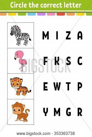 Circle The Correct Letter. Zebra, Flamingo, Tiger, Monkey. Education Developing Worksheet. Learning