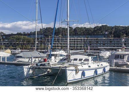 Rovinj, Croatia - Februar 28, 2020 - Modern And Luxury Grand Park Hotel And Aci Marina In Rovinj  -