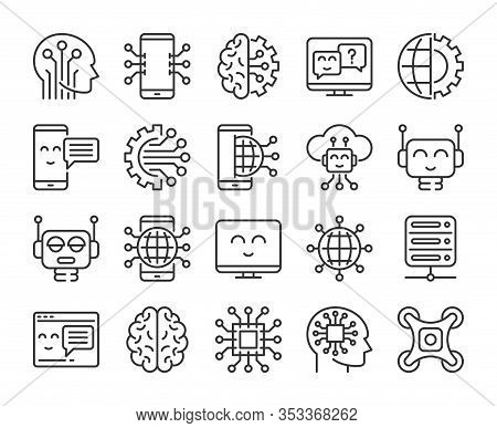 Artificial Intelligence Icons. Innovation Technology And Artificial Intelligence Line Icon Set. Edit