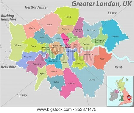 Vector Map Of Greater London With Named Districts And Location On British Map