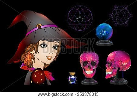 Young Woman Witch, Fortune Teller With Magic Ball, Human Skull, Potion. Clip Art, Set Of Elements Fo