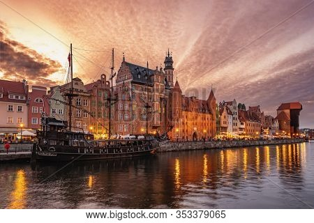 Cityscape of Gdansk old town on the river Motlawa. Old Town of Gdansk at twilight, Poland.