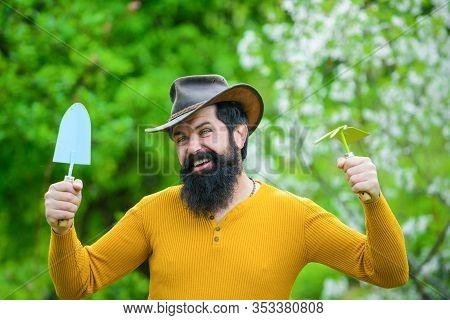 Work In Garden. Bearded Man With Gardening Tools. Gardener Work. Farm. Work In Garden. Spring. Smili