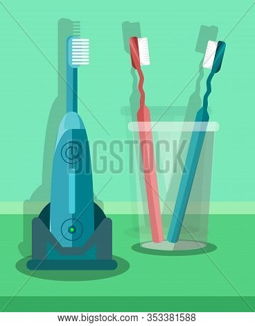 Toothbrushes Set, Kit Flat Vector Illustration. Teeth Brushing Tools, Accessories. Oral Sanitation E